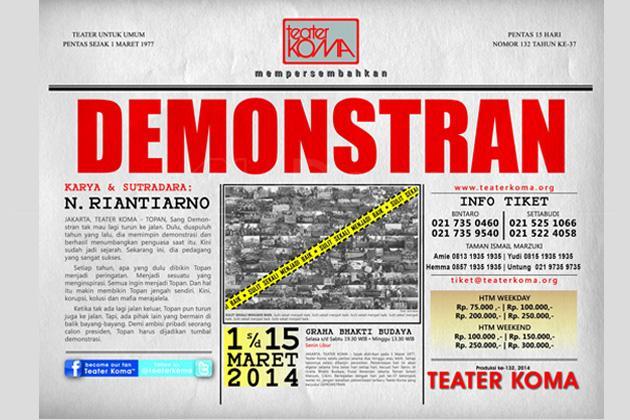 """Teater Koma Pagelarkan """"Demonstran"""""""